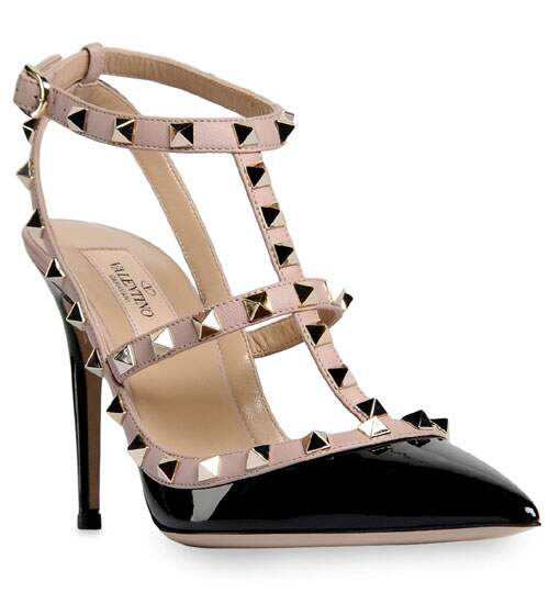 Sapato Val. Rockstud Black and Nude
