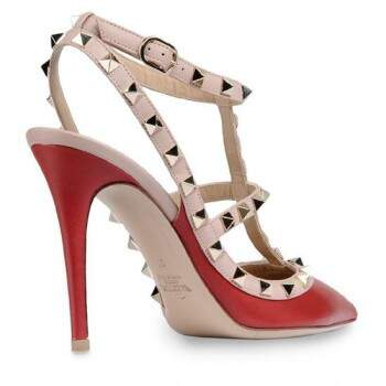 Sapato Val. Rockstud Red and Nude