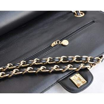 Bolsa Ch. Double Flap 2.55 Black Lambskin Gold- PREMIUM