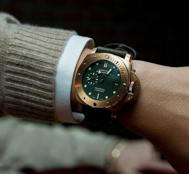 Relógio Panerai Submersible Gold Green