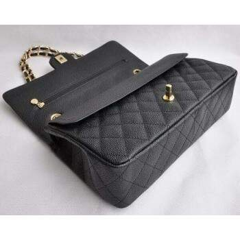 Bolsa Ch. Double Flap 2.55 Black Caviar Gold
