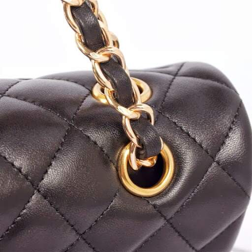 Bolsa Double Flap 2.55 Black Lambskin Gold- PREMIUM
