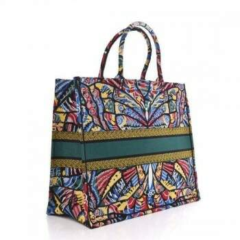 BOLSA DIOR BOOK TOTE CANVAS EMBROIDERED MULTICOLOR