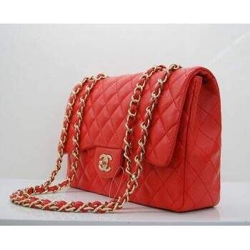 Bolsa Ch. Jumbo Flap Bag Red Lambskin Gold