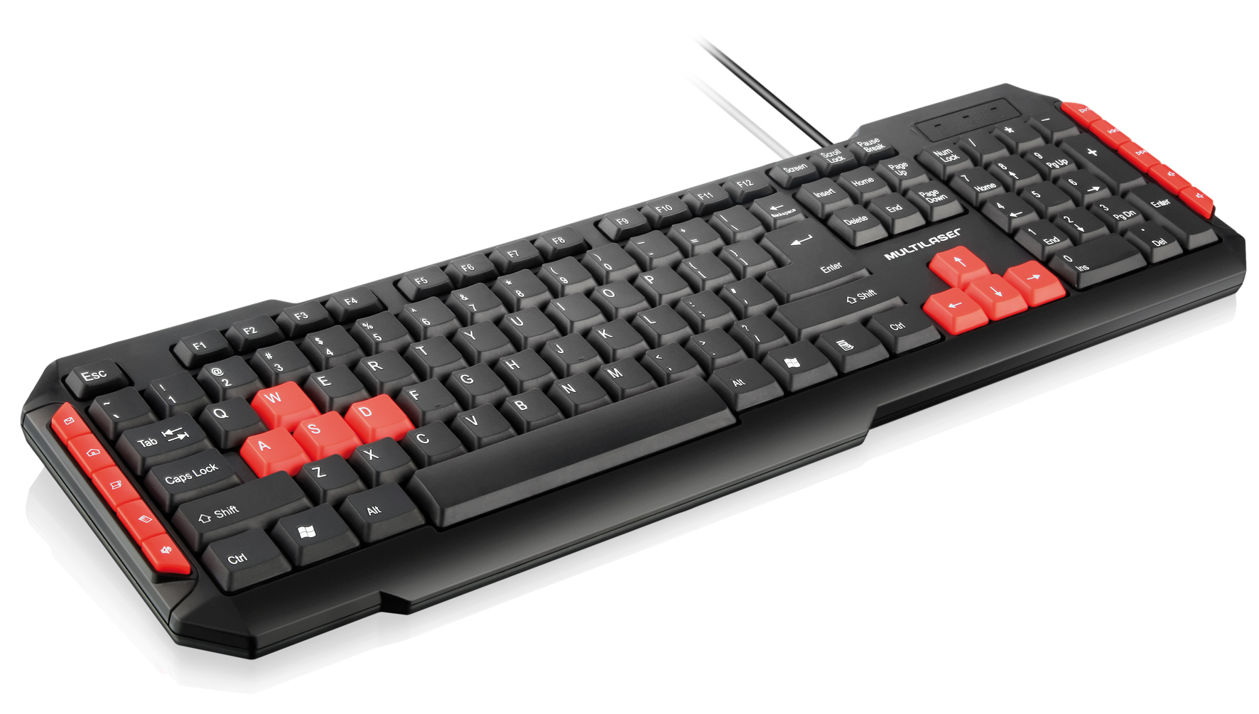 Teclado Gamer Black/Red Multilaser USB TC160