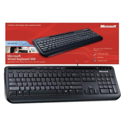 Teclado Multimídia Microsoft Wired 600 Preto ANB-00005