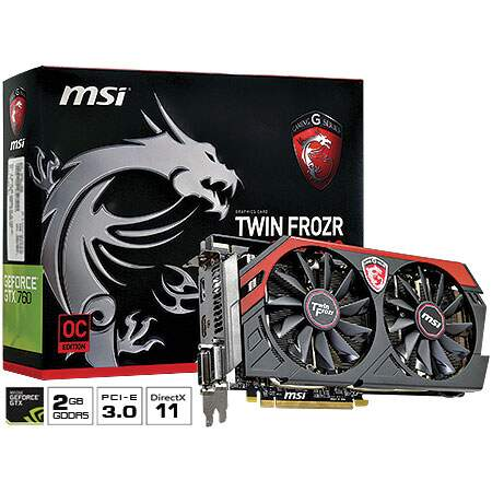 Placa de Vídeo GeForce N760GTX TF 2GD5/OC 2GB GDDR5 256 bits - MSI