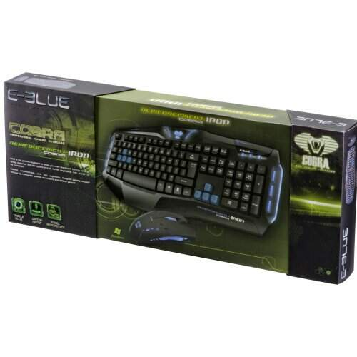 Kit Teclado e Mouse Gamer E-Blue Cobra Reinforcement Iron EKM801BKBL-IU Preto/Azul