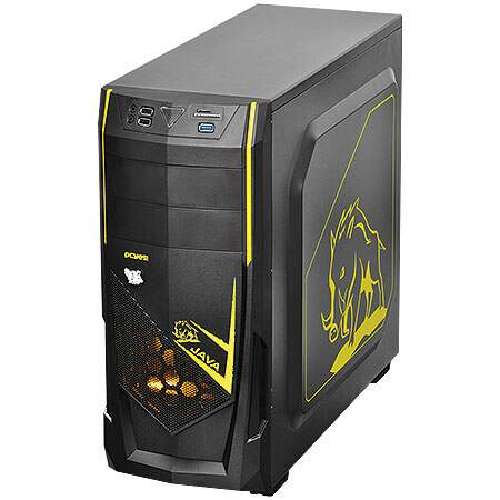 Gabinete Mid Tower Java Amarelo s/ Fonte c/ 1 cooler Led Frontal e Traseiro - PCYES
