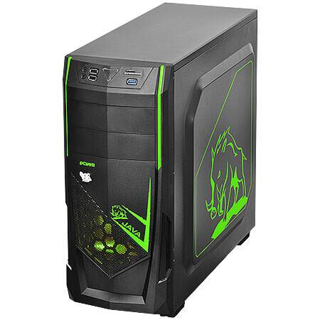 Gabinete Mid Tower Java Verde s/ Fonte c/ 1 cooler Led Frontal e Traseiro - PCYES