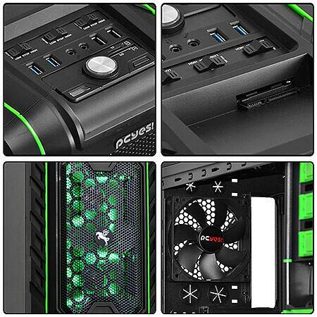 Gabinete Mid Tower Pegasus Verde s/ Fonte c/ 2 Cooler Frontal e 1 Traseiro - PCYES