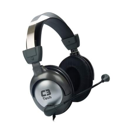 Headset C3 Tech - Gamer Raptor com Microfone - Preto/Prata MI-2870RS