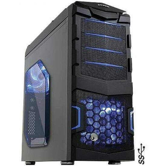 Gabinete Pcyes ATX Gamer Horse s/ Fonte 2 Fan LED AZ Black/Blue