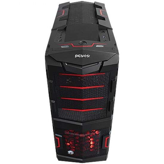 Gabinete Pcyes ATX Gamer Horse s/ Fonte 2 Fan LED Black/Red