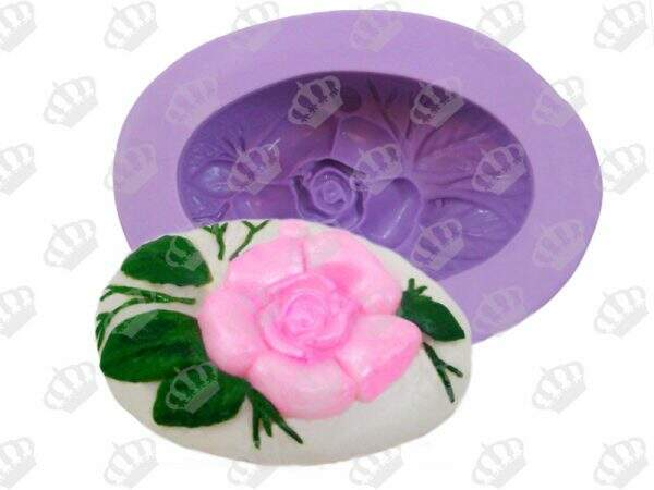 Forma de Silicone Oval Floral S-423