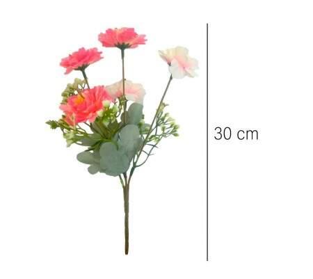 Flores Rosas Artificiais - 5 Galhos