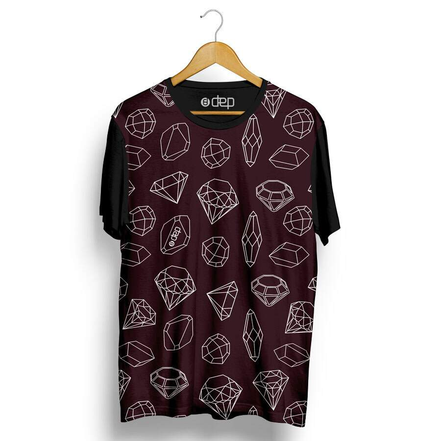 Camiseta Dep Diamantes Mini Vinho