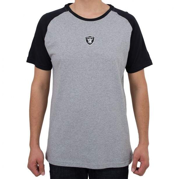 Camiseta New Era Oakland Raiders Mini Logo Cinza