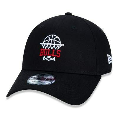 Boné New Era Snapback Chicago Bulls NBA Aba Curva Preto