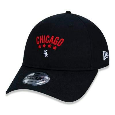 Boné New Era Strapback Chicago White Sox MLB Aba Curva Preto
