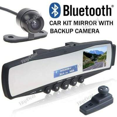 Adaptador Bluetooth Car Transmissor FM Espelho Retrovisor 3,5 polegadas TFT LCD Tela do Monitor + Camera Retrovisor
