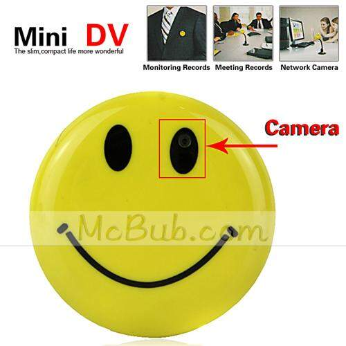 Sorriso Rosto Pin Mini Gravador de Voz Spy Camera Digital Video Recorder com MP3