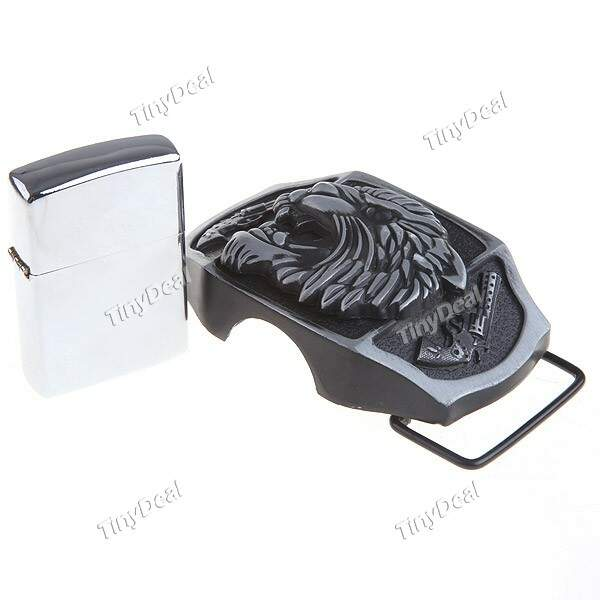 2-in-1 Tiger Head Patterned Metallic Belt Buckle Belt Fastener + Kerosene Lighter