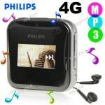 (PHILIPS) SA0283 4GB Mini MP3 Player Digital Music Player com Rádio FM