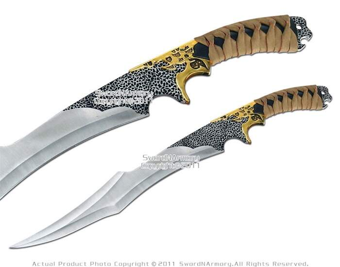 Fantasia Flurry dupla curto Swords Dagger w / Bainha & Plaque