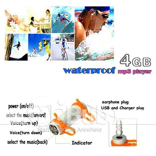 Music Player 4GB Waterproof Piscina MP3 com FM - Prata