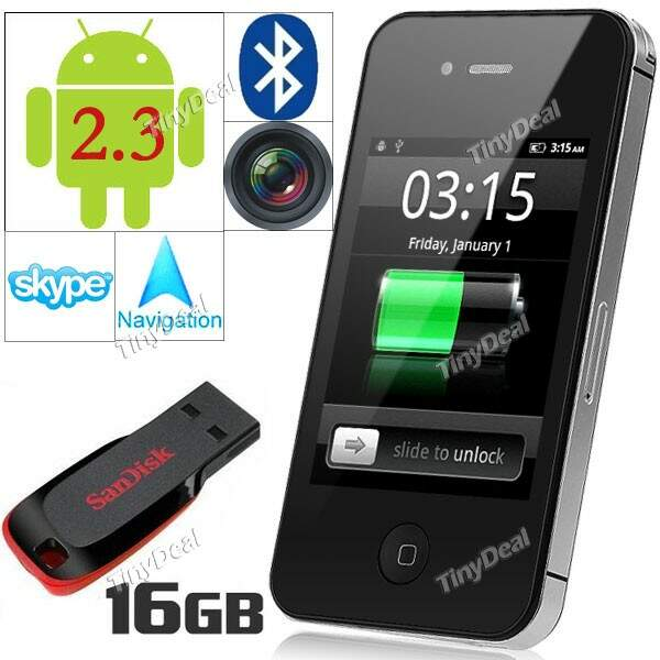 Android 2.3 MTK6513 Smart Phone w / TV WiFi Câmera + 16GB SANDISK