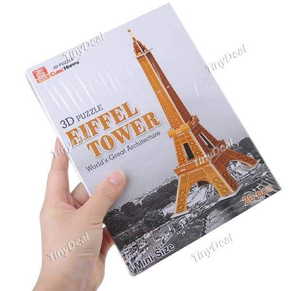 (CUBIC FELIZ) Mini Sized Building Blocks DIY Educacional Kit Toy 3D Puzzle para Crianças - Torre Eiffel
