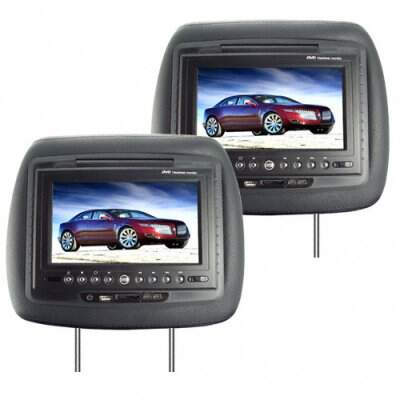 Carro de 7 polegadas LCD Headrest DVD Player + FM Transmitter - Par (Preto)