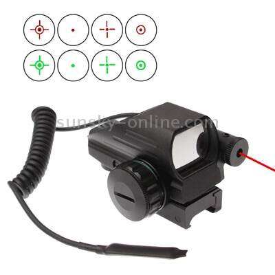 Red & Green Dot Sight Reflex com 4 retículos Diferentes / Red mira a laser