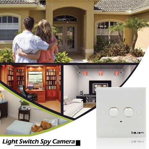 HD Spy Camera Light Switch Detecção w / Motion e gratuito incluído Micro SD Card