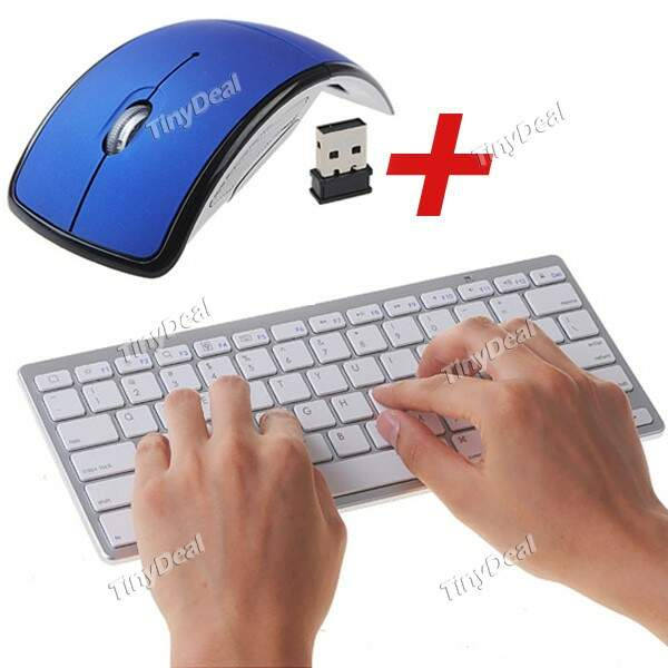 Ultra-Slim alimentado por bateria 78-Key Bluetooth 2.1 Wireless Keyboard + Mouse Wireless 2.4 GHz