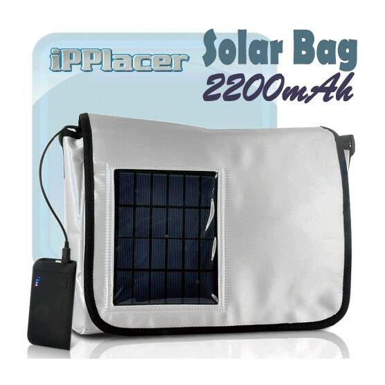 Solar Bag Carregador de bateria 2200 mAh para o iPhone, HTC, Samsung, Mais