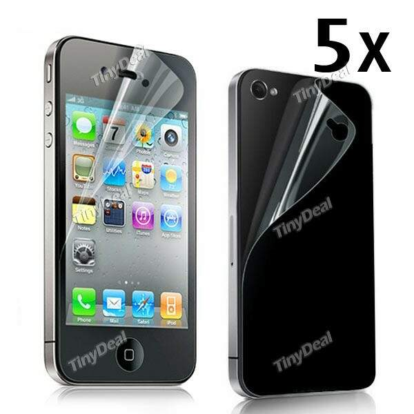 5 x Frente Full Body & Back protecção Film capa protector de ecrã para Apple iPhone 4 4S