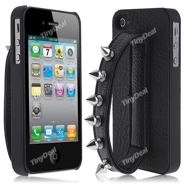 Knuckle Projeto PU Leather Case Capa Shell Protector para Apple iPhone 4/4S
