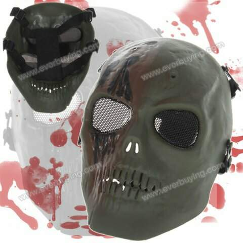 Durável Máscara Terrifying total Pirata com Metal Mesh Eye Shield - Verde Escuro