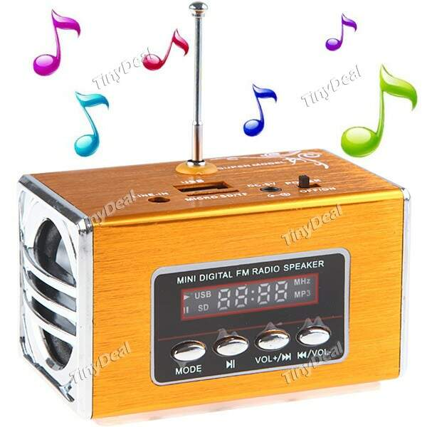 Portátil LCD Screen Mini Stereo Speaker com rádio FM USB Jack TF Slot CSK-25937