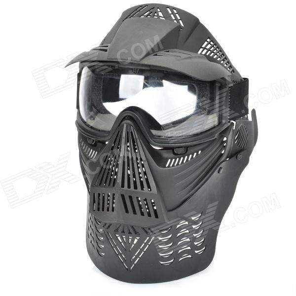 Elegante Paintball War Game Proteção Máscara Facial Shield - Preto