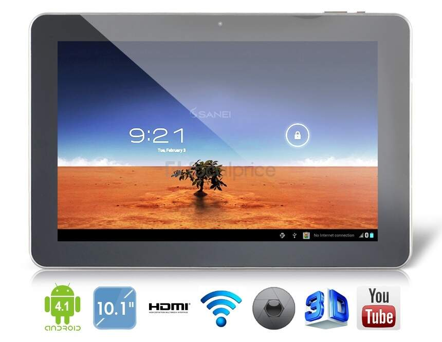 SANEI N10 Android 4.0.4 Freescale i.MX6Q Quad-Core 1.2 GHz Tablet PC com Bluetooth, Wi-Fi, 3G externo, IPS Capacitive Touch (16G) (Preto)
