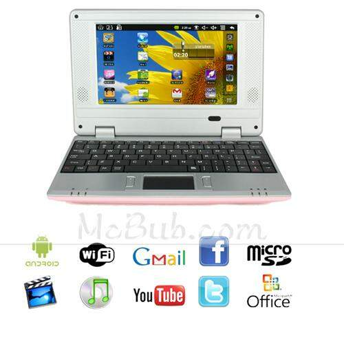 Google Android 2.2 VIA 8650 Suporte Flash 10 DDR/2GB 256MB HDD Netbook Wifi Laptop Pink