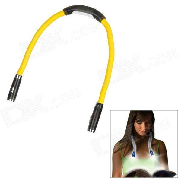 Flexível 4-LED flash Hands-Free Reading Lamp Luz Branca Hug - Amarelo + Preto (2 x AAA)
