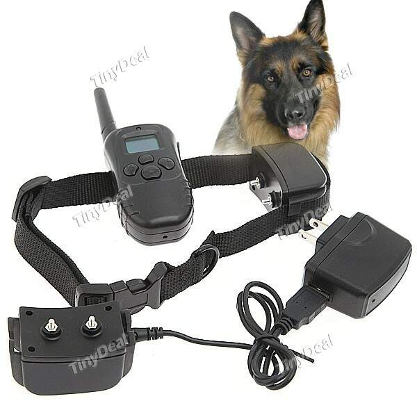 Display LCD Remote Control Pet Training Collar Vibration Training Collar Choque / Controlador + 2pcs Cerca Receivers IDH-227615