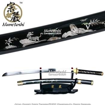 Munetoshi competição Samgakdo coreano Espada Katana w / Tiger Mother of Pearl Inlayed