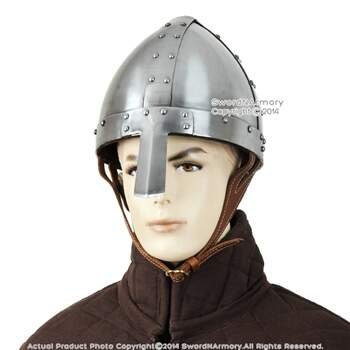 Battle Ready Spangenhelm Capacete Norman Nasal Helm Cavaleiro Medieval 16G Aço SCA