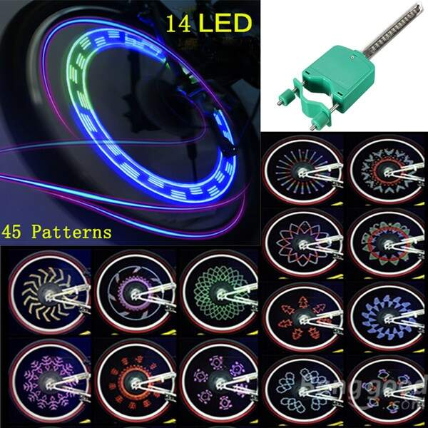 Bicicleta Bike Impermeável 14 LED 45 Patterns Raios de Luz Roda