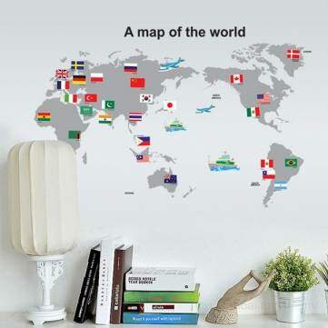 Map Of The Wall bandeira do mundo adesivo removível decalque Home Decor